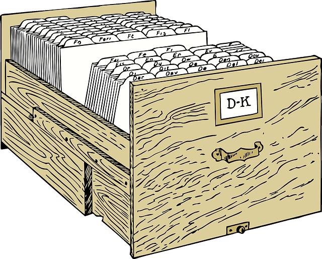 dřevený šuplík, kartotéka